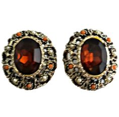 Vintage Chunky Root Beer Earrings Clip On Coral and Pearl Beads Glass Foil Backed Faceted Root Beer Color Large Stone  Approximate measurements: