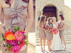 Stef- Bright color bouquet. this is cute with the champagne color especially for a september wedding