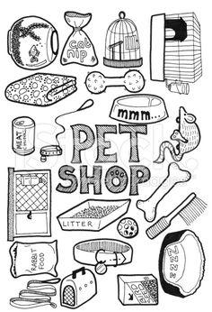 pet shop doodles royalty-free stock photo