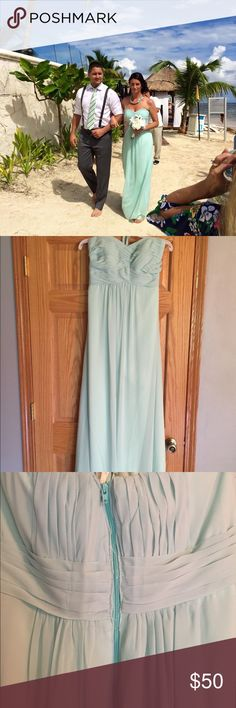 """Bill Levkoff mint green bridesmaid dress Mint green bridesmaids dress worn 2 times. First time for a destination wedding and second time for a reception. The dress was dry cleaned after the wedding in Mexico. It was hemmed to fit me and I'm 5'7"""". The first time I wore this it had to be taken in because it was too big. The reception was 6 months later and I was 5 months pregnant so it had to be let out. You can see from the pictures that the seamstress who let it out did not do a good job…"""