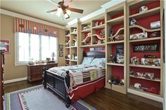 Boys room built-ins around bed.