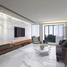 Porcel-Thin Calacatta marble effect 120x60cm wall and floor tiles in a modern lounge