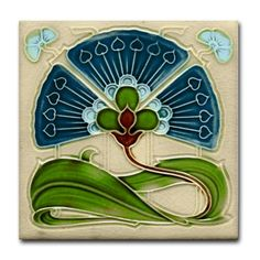 Art Nouveau flower ~ nice kitchen tile