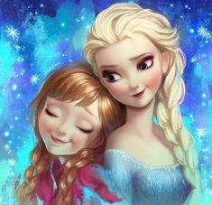 Frozen Elsa and Anna fan art by Angju.deviantart.com on @deviantART