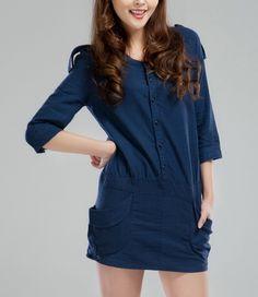 Front Buttons Side Pockets Linen Dress-zeniche.com SKU ab0373