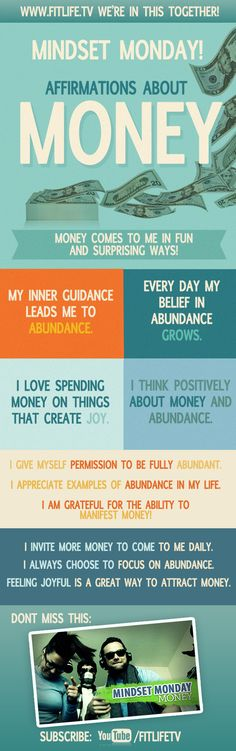 the Money and Law of Attraction - Mindset about money. the Money and Law of Attraction - The Astonishing life-Changing Secrets of the Richest, most Successful and Happiest People in the World Wealth Affirmations, Positive Affirmations, Law Of Attraction Money, Manifesting Money, Positive Thoughts, Self Help, Inspirational Quotes, Motivational Quotes, Positivity