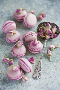 orchid rose hip macarons by
