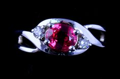 .91 ct. Very Fine Quality Red Spinel, From Burma, Very Rare! .15 TW G-VS Diamonds, 14K White Gold