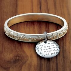 Vesta Olive Branch Bangle Bracelet with my babies' names on it! WANT!