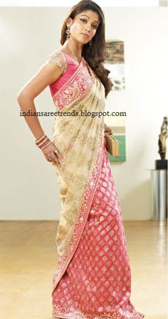 Half and half saree with pink sequin work banarasi saree and beige colour pallu embellished with mango sequin work border paired with matching  short sleeve blouse saree blouse.