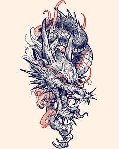"@jeffboyardee_art 在 Instagram 发布:""Dragon flash claimed! - - #illustration #drawing #sketch #tattoo #chronicink #dragon #irezumi #irezumicollective"" Dragon Tattoo Flash, Dragon Tattoo Sketch, Asian Dragon Tattoo, Dragon Tattoo For Women, Japanese Dragon Tattoos, Dragon Tattoo Designs, Tattoo Sketches, Body Art Tattoos, Foot Tattoos"