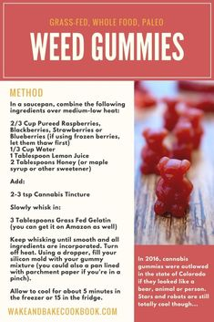 This cannabis gummy bear recipe is healthy, simple and de-licious! Using cannabis tincture, berries, honey and gelatin, you can whip up this paleo cannabis gummy recipe in 20 minutes! Weed Recipes, Marijuana Recipes, Marijuana Facts, Ganja, Cannabis Edibles, Cannabis Oil, Paleo, Keto, Gastronomia