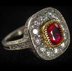 Custom Ruby and Diamond Ring