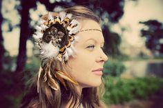 Leia Feather Headdress . . . Gold feathers, chain, hair piece