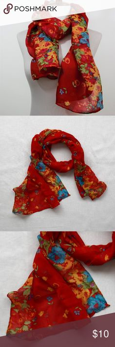 "NWOT  Red Cotton Blend Floral Scarf Floral pattern scarf perfect for Spring/Summer look.  Thin Cotton Blend material is light and comfortable perfect with any casual wear to give extra color to your outfit.    Size: 19.5"" x 62"" Accessories Scarves & Wraps"