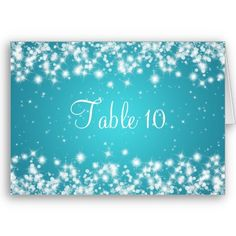 Wedding Table Number Winter Sparkle Blue Greeting Cards