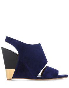 ec0b9c3eef7 Chloé Suede Wedge Sandals in Blue (Dark blue)