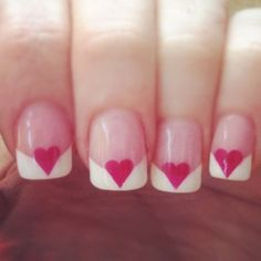 A Heart French Manicure ♥ Best and Easy Valentine's Day Nail Art Designs ♥ Christmas Nail Art Designs
