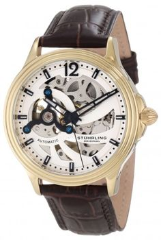 Stuhrling Original 170.3335K2 Delphi Helix 23k Gold Layered Automatic Skeleton Watch For Men