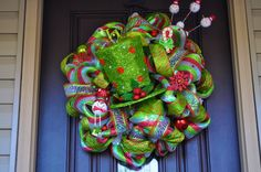 Lighted Christmas Wreath Deco Mesh Wreath by RedWithEnvyDesigns,