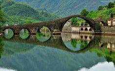 Włochy, Rzeka, Most, Góry, Las