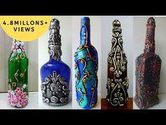 5 Bottle Decoration Ideas - YouTube Glass Bottle Crafts, Wine Bottle Art, Diy Bottle, Glass Bottles, Diy Arts And Crafts, Hobbies And Crafts, Decoupage Jars, Plastic Bottle Flowers, Dot Art Painting