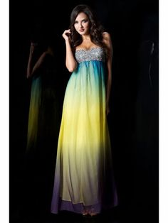 Blue, Yellow, and Purple Ombre Dress