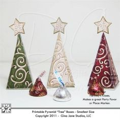 Printable Christmas Tree Hershey Kisses Boxes you make your own do it yourself, DIY Christmas crafts, gifts, favors and ornaments made from paper and your printer. Download adorable Christmas Crafts for Craft Fair Best Sellers, Kids Christmas Crafts, home made Christmas.  DAISIE COMPANY: Printable Digital Paper Crafts, Clipart, Scrapbooking, Stamp, Party - DaisieCompany.com