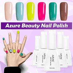 Nail Color Ideas Azure Beauty UV/LED Soak Off Nail Gel Polish Shiny Nail Lacquer Manicure Art Mixed 6 Colors Set 12ml * You can find more details by visiting the image link.