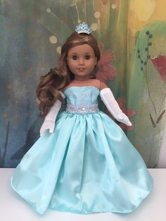 girl dolls Excited to share this item from my shop: American Girl Aqua Ball Gown Outfit Custom American Girl Dolls, American Girl Doll Pictures, American Girl Crafts, American Doll Clothes, Girl Doll Clothes, American Dolls, Barbie Clothes, Corsage, Doll Fancy Dress