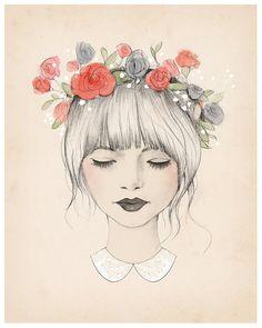 Flower Crown ✿ Illustration By Kelli Murray ღ Cute Girl Drawing Art And Illustration, Watercolor Illustration, Art Design, Design Model, Interior Design, Painting & Drawing, Drawing Tips, Drawing Ideas, Dream Drawing
