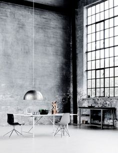 love the industrial space. something about these tall ceilings and huge windows just makes me want to be creative, like there's nothing you CAN'T do in this space