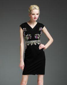 Shop V Neck Cap Sleeve Embroidery Black Sheath Mini Dress. VIPme.com offers quality Black, ElaCentelha Sheath Dresses at affordable prices.