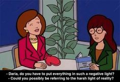 A typical 'mother-daughter' conversation between Helen Morgendorffer and Daria.