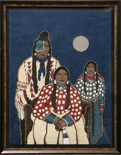 Artist: Kevin Red Star, American (1942 - ) || Title: Crow Indian Family || Year: circa 1980 || Medium: Serigraph, signed in pencil || Edition: 150, AP || Size: 30 in. x 22 in. (76.2 cm x 55.88 cm) || Frame Size: 36 x 27 inches