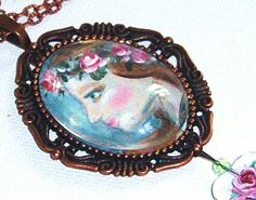 Hand Paint Pendant Necklace Vintage by GoddessArtCollection