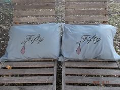 For the Fifty Shades of Grey Fans - Handpainted, Grey Pillow Cases. $28.00, via Etsy.