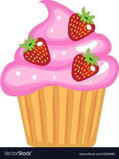 Cute cupcakes flat cartoon style Cake with cream vector image on VectorStock Cupcake Pictures, Cupcake Images, Cupcake Art, Cute Cupcakes, Birthday Cupcakes, Alphabet Activities, Preschool Activities, Cupcake Clipart, Cake Vector