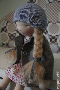Doll for Emy by Poppenliefde, via Flickr; I love this hat, and I believe she's wearing Liberty of London?