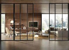 New sliding glass door design Ideas Interior Architecture, Interior And Exterior, Interior Design, Sliding Glass Door, Sliding Doors, Glass Doors, Glass Partition, Steel Doors, Modern Glass