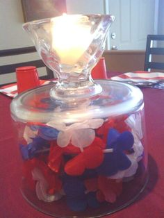 This is my Trifle dish turned upside down...3 red white n blue leis w flowers bunched upinside...then a volvo  candle placed in the base...a nice 4th of july centerpiece :) nisa