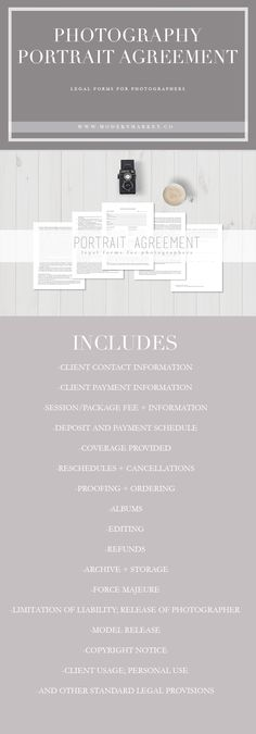 Complete Portrait Photography Agreement PHOTOGRAPHERS - If you're in business then you need this! A easy to understand, simple to customize portrait agreement. View our whole line of legal forms for photographers. Photography Contract, Photography Marketing, Photography Jobs, Real Estate Photography, Photography Branding, Photography Business, Photography Lessons, Learn Photography, Family Photography