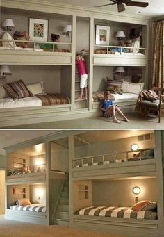 Great idea for the future kids room, I'd like to take the two bottom bunks and make some sweet closets for them, because two children is our max and there's too many beds lol