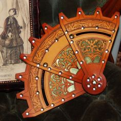 Steampunk Leather and Brass Folding Fan