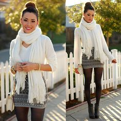 Cute winter date outfit- high bun cute dress and tights - can't wait to rock this when weather gets chilly