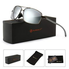 843915382a SUNGAIT Ultra Lightweight Rectangular Polarized Sunglasses 100% UV  protection (Gunmetal Frame Gray Lens