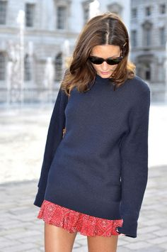 Baggy Sweater + Feminine Skirt