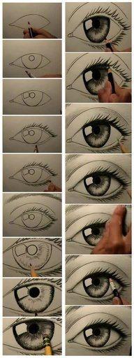 Desenhando olhos (Drawning eyes)  Via: https://www.facebook.com/pages/Crie-e-Fa%C3%A7a-Voc%C3%AA-Mesmo/127056710748087