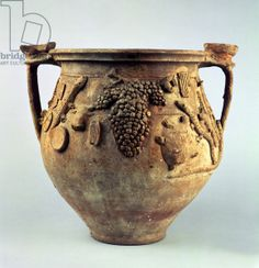 'Magic' Vase, from the House of Sestilius Pyrricus, Pompeii, 1st century AD (pottery), . / Private Collection / Accademia Italiana, London / The Bridgeman Art Library (Roman bunch of grapes lizard symbol turtle)