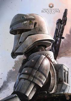 Star Wars - Rogue One Tank Trooper (Commander) by Shane Molina Star Wars Saga, Star Wars Fan Art, Star Wars Clone Wars, Star Wars Pictures, Star Wars Images, Chewbacca, Film Science Fiction, Star Wars Wallpaper, Star Trek